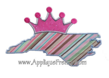 North Carolina Princess Applique Design