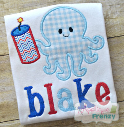 Octopus with Firecracker Applique Design-