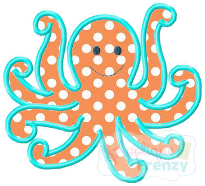 Octopus3 Applique Design-octopus, sea creatures, beach summer, sun fun, summer, beach