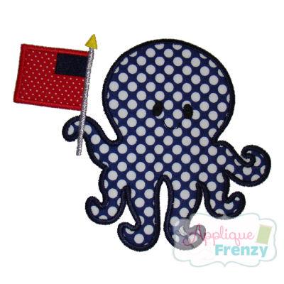 Octopus with Flag Applique Design-