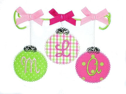 Christmas Ornaments on a String Applique Design