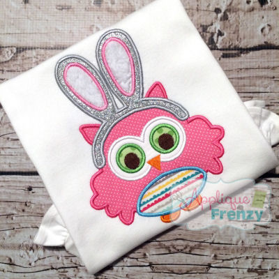 Owl with Bunny Ears Applique Design-