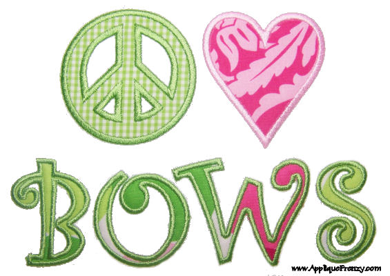Peace, Love, Bows Applique Design