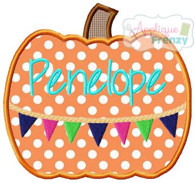 Pumpkin with Bunting Applique Design-fall, boho, hippy, celebrate fall, pumpkin