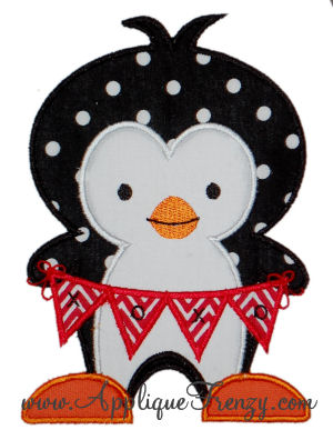 Valentine Penant Penguin Applique Design-valentine, penguin, heart, love, february 14, animals, cute