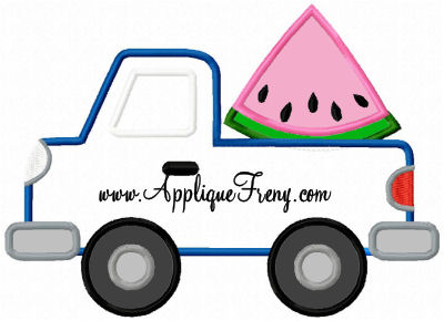 Watermelon Pickup Truck Applique Design-