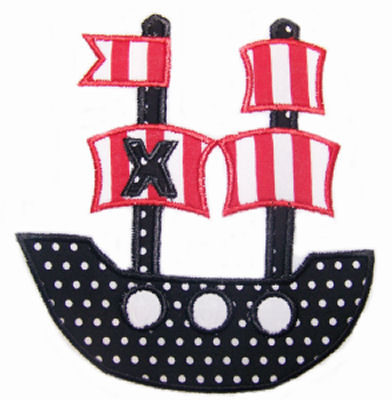Pirate Ship Applique Design-pirate ship, boys, party, birthday, argh, mate