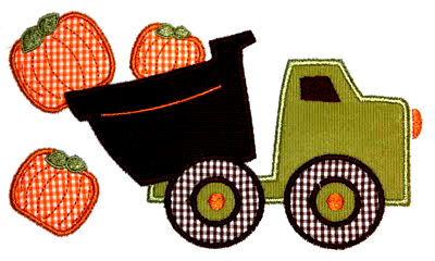Dumptruck Pumpkins Applique Design-fall, pumpkin, harvest, thanksgiving, autumn, dumptruck, dump truck, boy