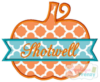 Pumpkin with Banner Applique Design-pumpkin, fall, fall applique, boho, hippy