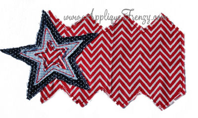 Raggy Zig Zag Flag Applique-