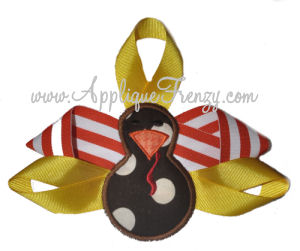Ribbon Feather Turkey Applique Design