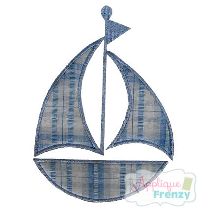 Sailboat Applique Design-sailboat, summer, beach, sun, seaside, sand,