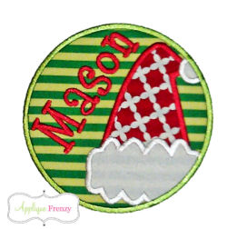 santa Hat cirlce patch Applique Design-