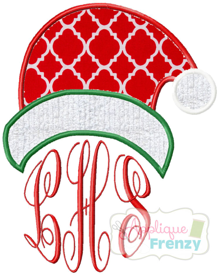 Santa Hat Applique Design-santa, elf, christmas, winter, tree, spruce, gifts
