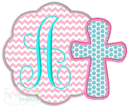Scallop Circle Patch with Cross Applique Design-bunny , easter, jesus, cross, he lives, salvation, resurection