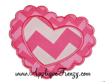 Scalloped Heart Applique Design-