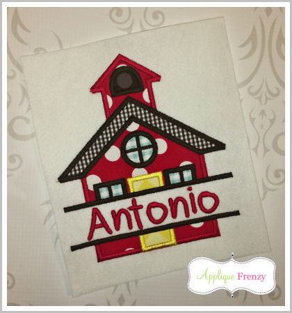 Split School House Applique Design,-