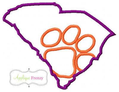 South Carolina State- Paw Applique Design-