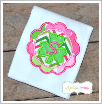Shamrock Double FRAME Circle Scallop Applique Design-
