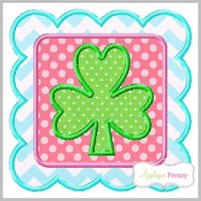 Shamrock Double Frame Square Scallop Applique Design-