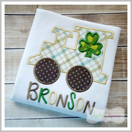 St. Patricks Day train with Shamrock Window Applique Design-