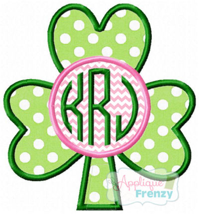 Shamrock with Circle Applique Design-st patricks day, shamrock, four leaf clover, march, baby, lucky, charm