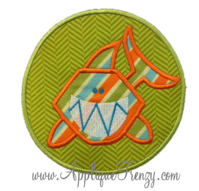 Shark Circle Patch Applique-