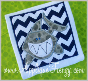 Shark Square Patch Applique Design