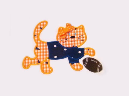 Football Tiger with Shirt Applique Design-tiger, auburn, football, mascot