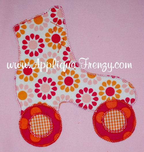 Roller Skate Applique Design-