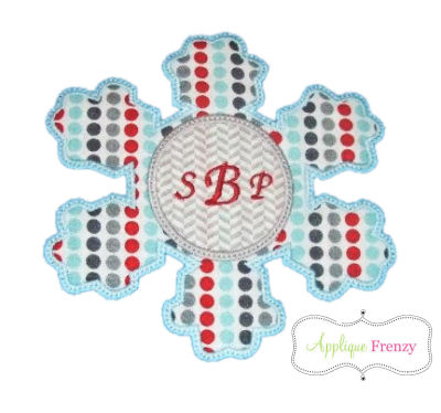 Snowflake Circle Center Applique Design