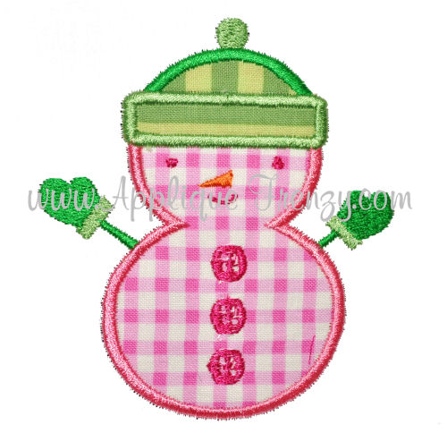 Fluffy Hat Snowman Applique Design-