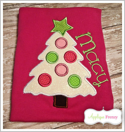 Snow Christmas Tree Applique Design-