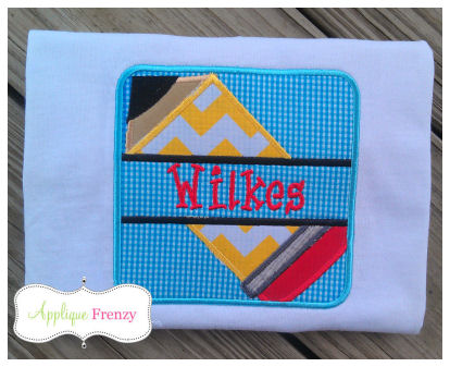 Split Pencil Rectangle Patch Applique Design-