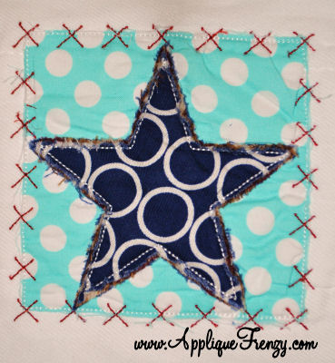 Star Square X Patch Applique Design