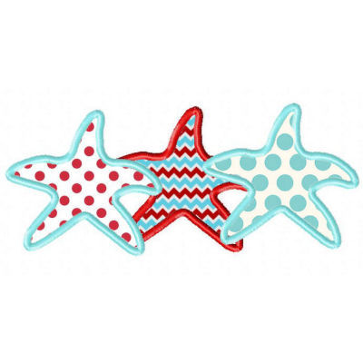Starfish Trio Applique Design-