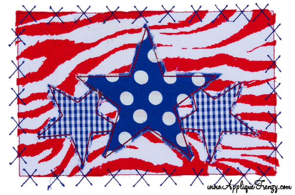 Star Trio Rectangle X Patch Applique Design