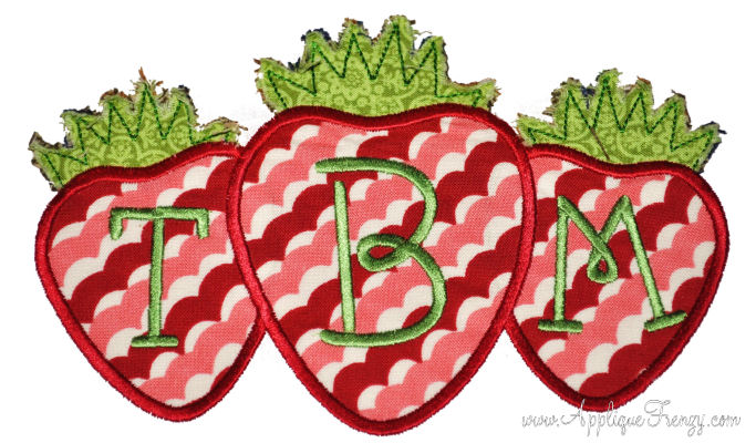 Strawberry Trio Applique Design-