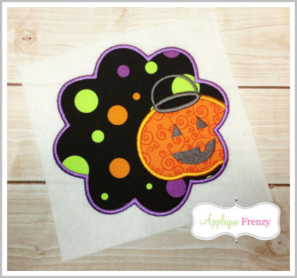 Trick or Treat Basket Scallop Applique Design-