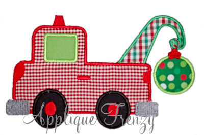 Christmas Tow Truck Applique Design-christmas, santa, ornament, tree, snow, boy christmas