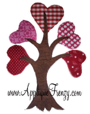 Tree of Hearts Applique Design-