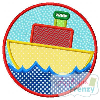 TugBoat Circle Patch Applique Design,-boat, summer ,sail, beach, sealife,