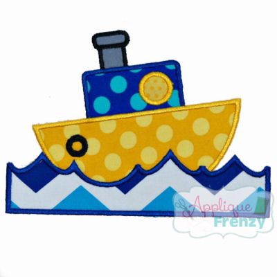 Tugboat in Water Applique Design-