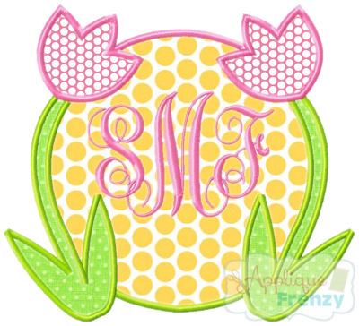 Tulip Circle Applique Design-tulip, flowers, spring, easter