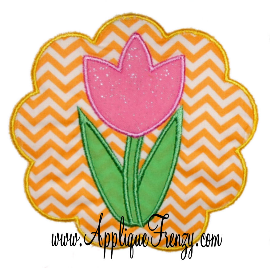 Tulip Scallop Patch Applique Design-