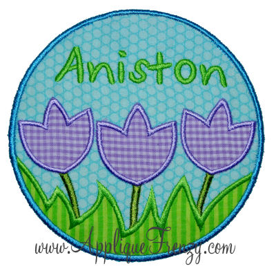 Tulip Trio Name Patch Applique Design-