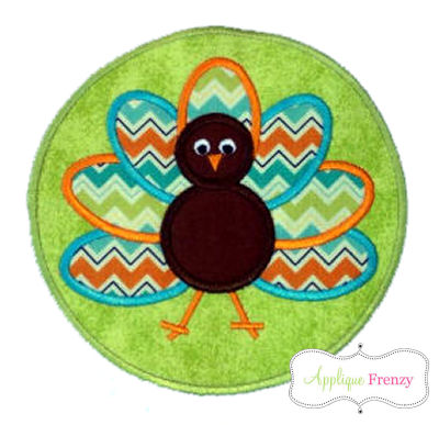 Turkey Circle Patch Applique Design-