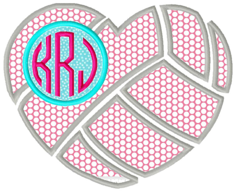 Volleyball Heart Applique Design-volleyball, sports, girl sports, love volleyball, vb