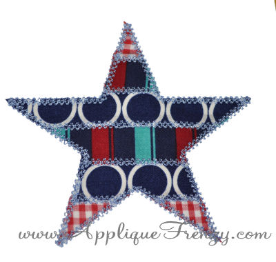 Patchwork Stripe Star Applique Design-