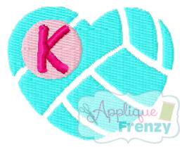 Volleyball Heart FILL Design-volleyball, vb, love, heart, embroidery